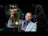 Celtics' Legend PAUL PIERCE celebrates his #34 retirement by touting the 08 NBA Championship Trophy