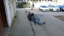 A monkey man taking rest and monkey doing catch the lice his head PCCNN By Chaudhry Ilyas Sikandar