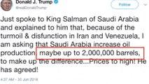 """트럼프 """"사우디 국왕에게 석유 증산 요청"""" / YTN"""