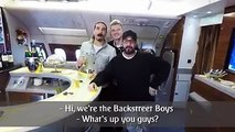 """""""Backstreet's back."""" A special message from Backstreet Boys in our A380 Onboard Lounge ahead of their sold-out concert in Dubai. AJ McLean Nick Carter Kevin Ric"""