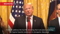 President Trump Defends Journalists In Response To Capital Gazette Shooting