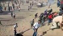 """#شاهد هتاف المتظاهرين لحظة تمكنهم من إسقاط طائرة """"مسيرة"""" صهيونية كانت تلقي عليهم قنابل الغاز شرق البريج وسط قطاع غزة ."""
