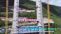 503 meters above the water! A main pylon of a mega suspension bridge in China's Sichuan was topped off, marking a major breakthrough in the 2,009-meter-long bri