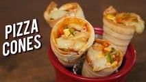 Pizza Cones - How To Make Cheesy Pizza Cones - Quick & Easy Snack Recipe - Bhumika
