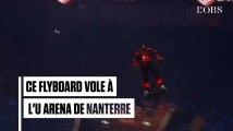 L'impressionnant envol de Franky Zapata sur son flyboard dans l'enceinte de l'U Arena de Nanterre