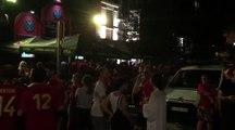 Ambiance à Liège devant l'ancien Celtic après le match Brésil - Belgique