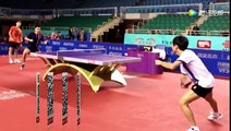 Table tennis slow motion. National China team training for Olympic