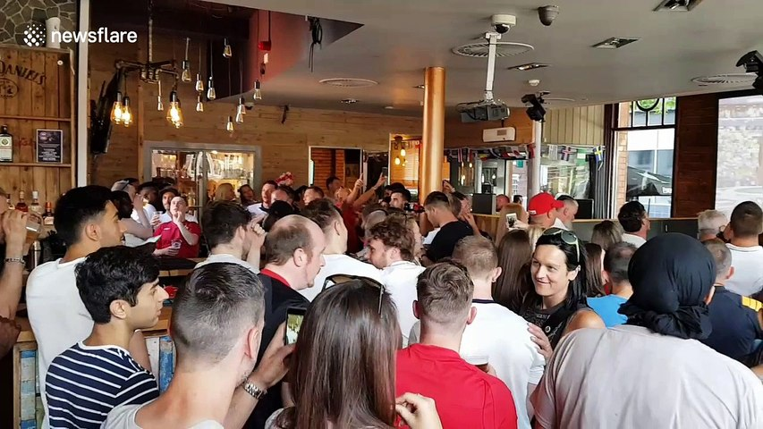 England fans sing national anthem ahead of match against Sweden