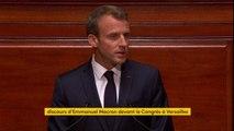 """Emmanuel Macron devant le Congrès : """"Je n'ai rien oublié du choix que la France a fait il y a une année. Je n'ai rien oublié des peurs, des colères accumulées pendant des années. Elles ne disparaissent pas en un jour. Elles n'ont pas disparu en une année"""""""