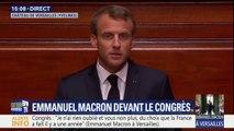 """Macron devant le Congrès: """"Je sais que je ne peux pas tout, je sais que je ne réussis pas tout, mais mon devoir est de ne jamais m'y résoudre et de mener inlassablement ce combat"""""""