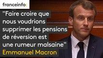 """""""Faire croire que nous voudrions supprimer les pensions de réversion est une rumeur malsaine, visant à faire peur. Je le dis clairement : rien ne changera pour les retraités d'aujourd'hui"""", assure Emmanuel Macron"""