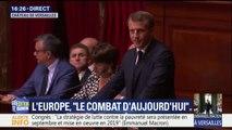 """Macron devant le Congrès: """"Il faut le dire clairement: la frontière véritable qui traverse l'Europe est celle aujourd'hui qui sépare les progressistes des nationalistes. Et nous en avons pour au moins une décennie."""""""