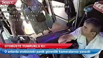 Otobüste yumruklu kavga kamerada