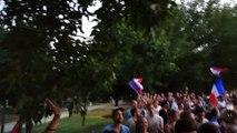Les supporters fêtent la victoire des Bleus en demi-finale à Toulouse