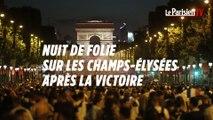 Nuit de folie sur les Champs-Elysées après la victoire des Bleus en demi-finale