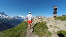 Suivre Kilian Jornet dans une descente (Marathon du Mont-Blanc)