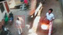 जलता हुआ सिलेंडर लेकर महिला के पीछे दौडा युवक, घटना CCTV में हुई कैद