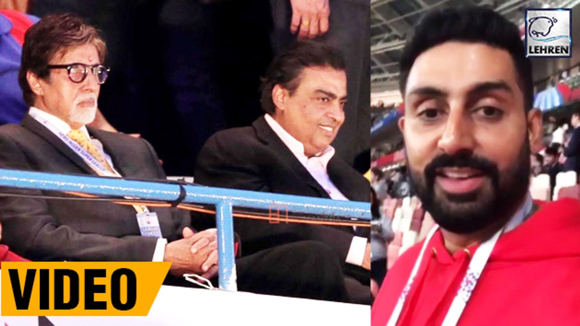 Abhishek, Amitabh And Mukesh Ambani Watching FIFA Semi-final Together