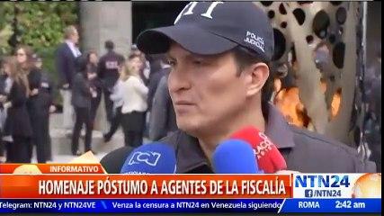 Con ofrendas florales honraron a agentes de la fiscalía colombiana asesinados en Nariño