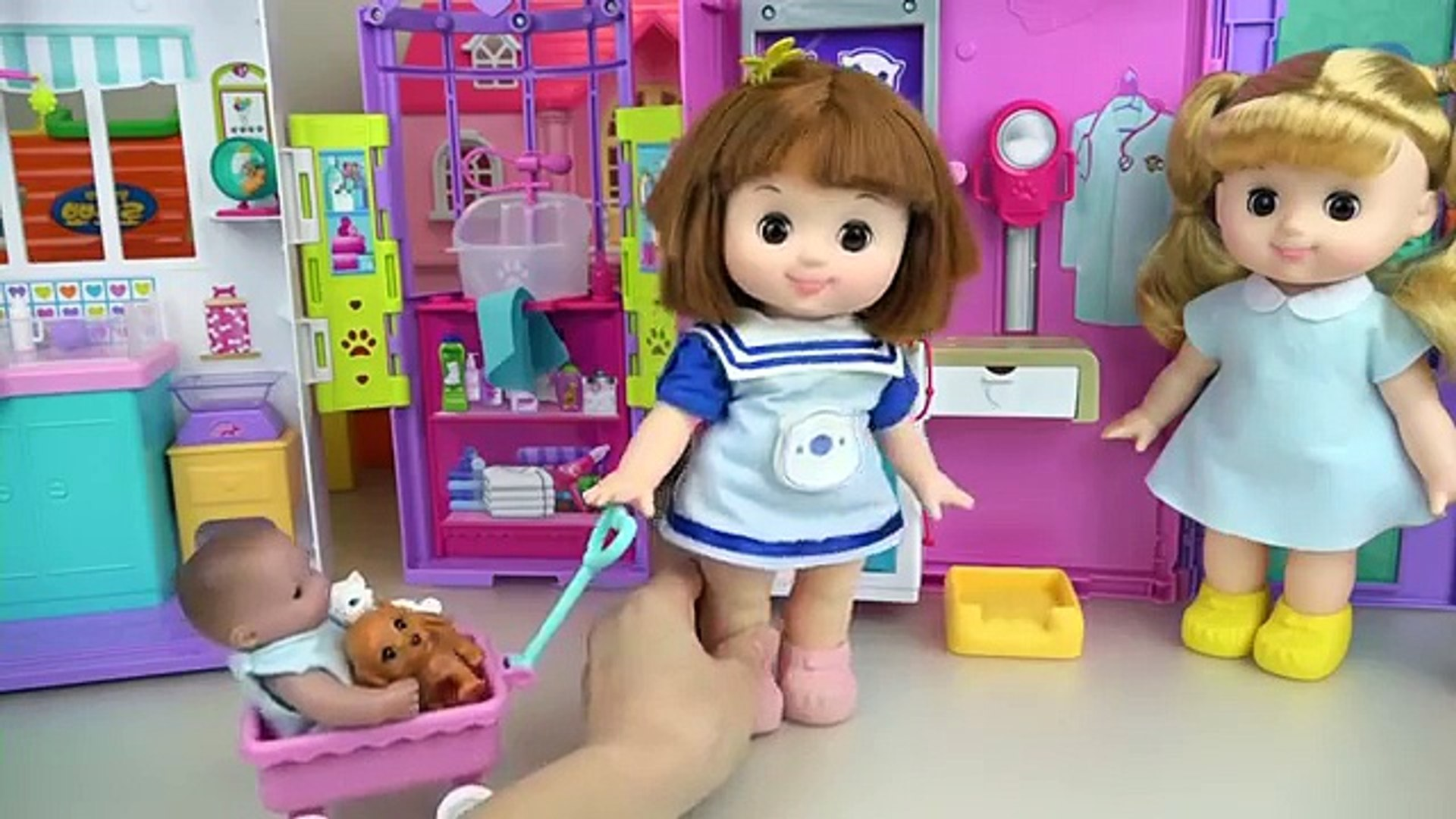 Baby doll and pet animal care house toys play