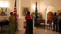 Mandela Washington Fellow Ms. Kujeh Kah speaks on behalf of her colleagues during a reception hosted in their honor at the Ambassador's Residence.