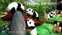 A new exhibition in SW China's Chengdu is attracting attention. Built completely from Lego, the sculptures include life-sized pandas, and some larger-than life