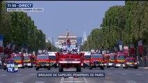 14-Juillet: la brigade des sapeurs-pompiers de Paris défile à présent sur les Champs-Elysées