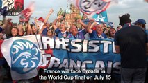 France fans mark Bastille Day, counting down to World Cup final