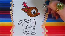 Cute baby reindeer coloring, Santa Clauss cool reindeer for Christmas colouring fun