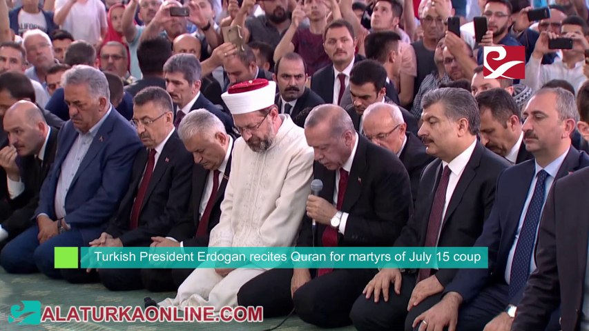 Turkish President Erdogan recites Quran for martyrs of July 15 coup
