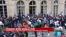 French players greet fans at the Élysée Palace