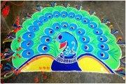 Latest Beautiful Easy Peacock Rangoli Design Ideas, Peacock Rangoli Pictures Images Photos Pics Wallpapers