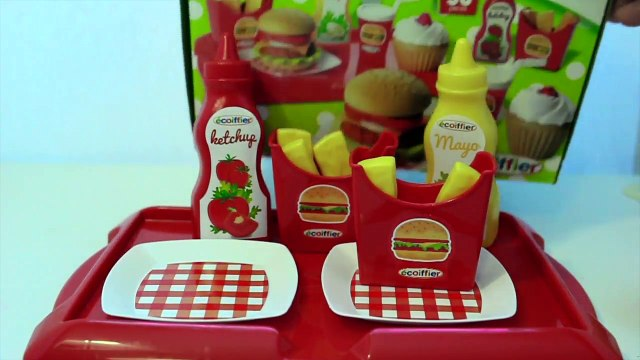 Toy kitchen burger play set PlayDoh Mc French Fries playing burger & cupcakes toy