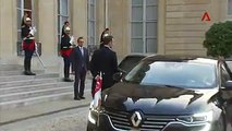 WATCH: French President Emmanuel Macron greets PM Lee Hsien Loong at the Elysee Palace in Paris on Friday. PM Lee is on a three-day visit to attend France's Bas