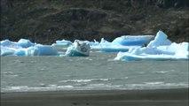 Broken pieces of glaciers at grey Glacier in Patagonia, Chile