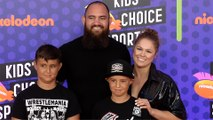 Ronda Rousey and Travis Browne 2018 Kids' Choice Sports Awards Orange Carpet