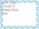 Chezmoi Collection 7Piece Aqua with Blue and Black Floral Flocking BedinaBag Comforter