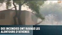 De violents incendies ravagent les alentours d'Athènes: des dizaines de blessés et plus d'une centaine de blessés