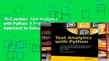 Full E-book Text Analytics with Python: A Practical Real-World