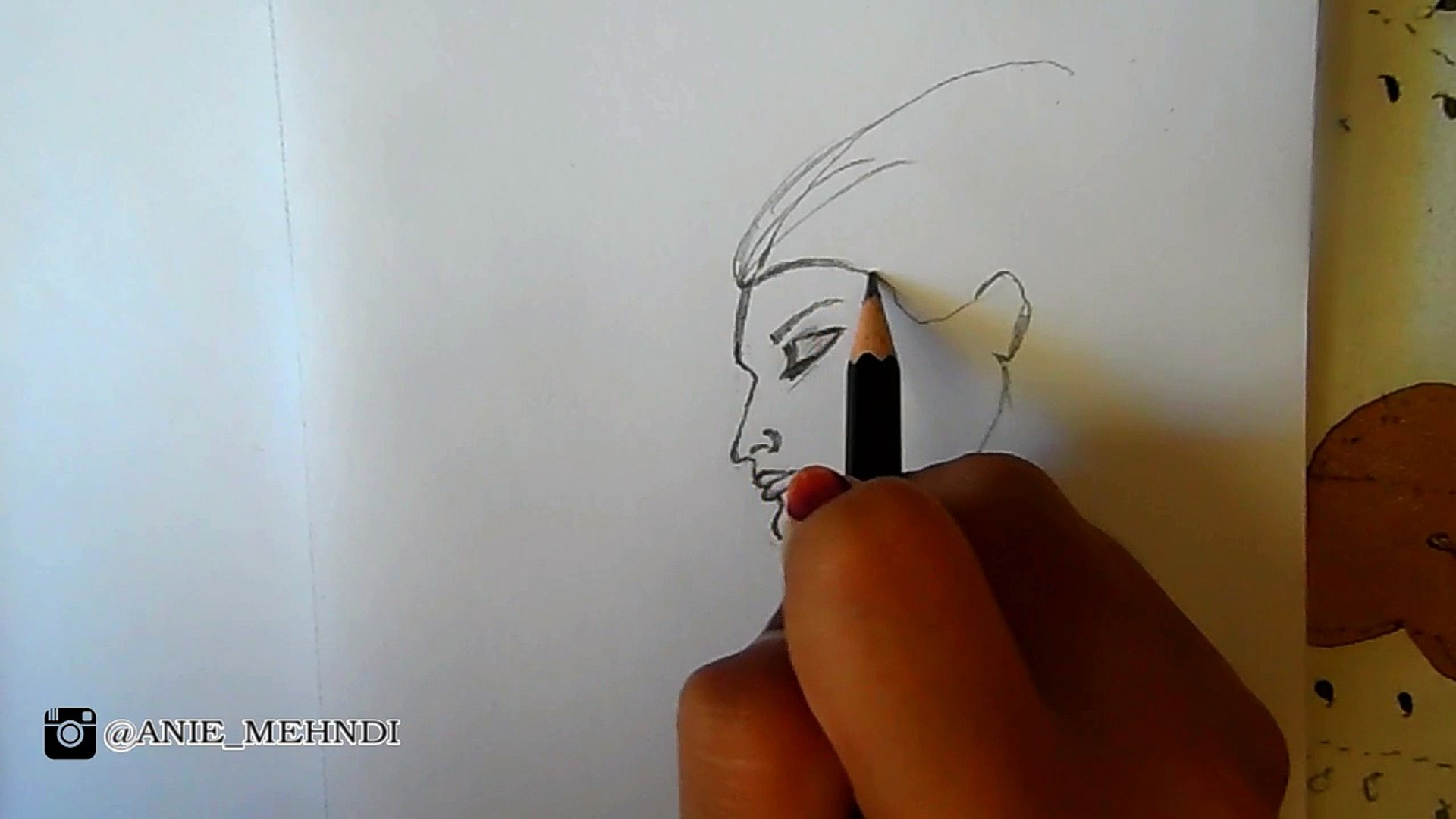 Draw and Shade Girl Face From Beside - Draw #1