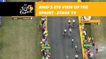 Vue aérienne sur le sprint de Geraint Thomas / Bird's eye view of the sprint - Étape 19 / Stage 19 - Tour de France 2018