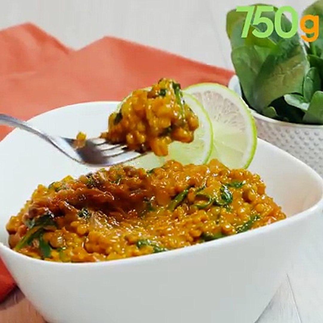 Une recette originale de curry où le riz est remplacé par un duo Céréales & Lentilles ! La recet