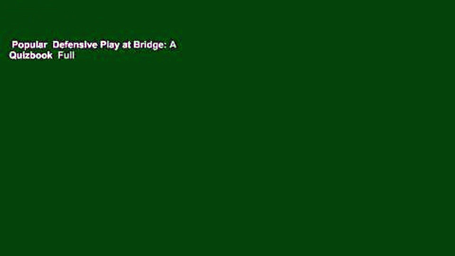 Defensive Play at Bridge A Quizbook