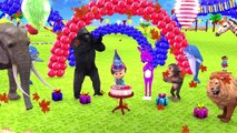 Learn Wild Animals Go To School On Circus Train Toy For Kids Birthday Party Limbo Challeng