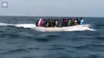 رد فعل مهاجرين غير شرعيين عندما وصلوا لأحد شواطئ العراه