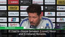 Diego Simeone explains his comments in regards to Cristiano Ronaldo being better than Lionel Messi in an average team before going on to choose which of the two
