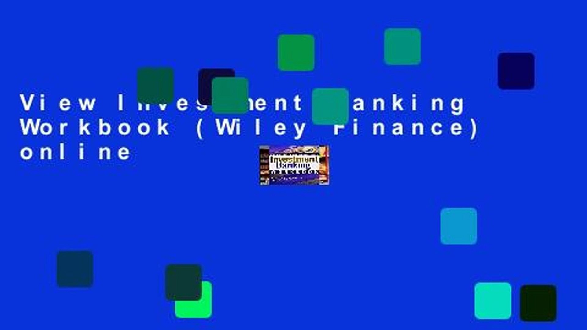 View Investment Banking Workbook (Wiley Finance) online