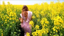 Young Woman in Vintage Dress Running Field Touching Flowers HD Stock Footage