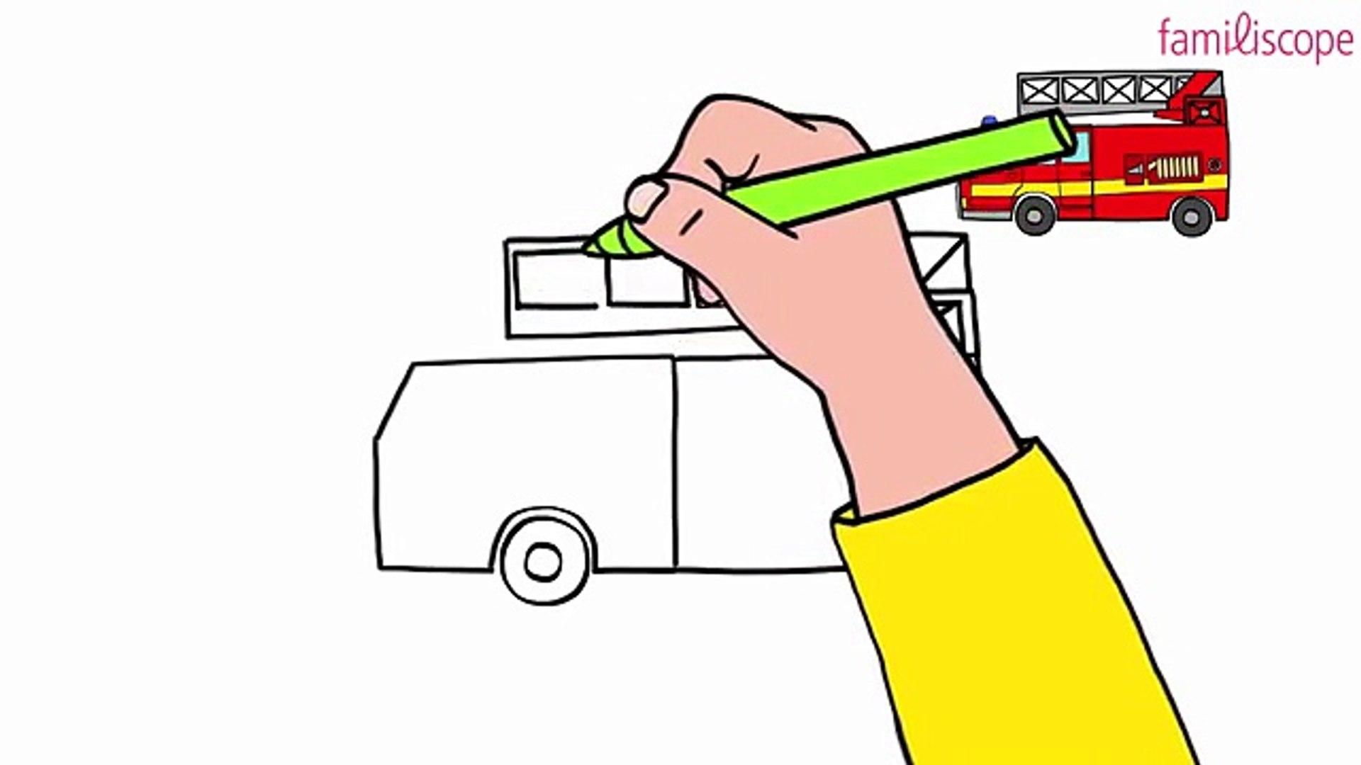 Apprendre à dessiner un camion pour les pompiers en 25 étapes