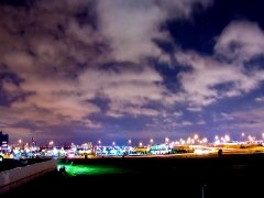 Time Lapse night time lights clouds airplanes & st